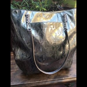 Michael Kors silver purse with silver chain